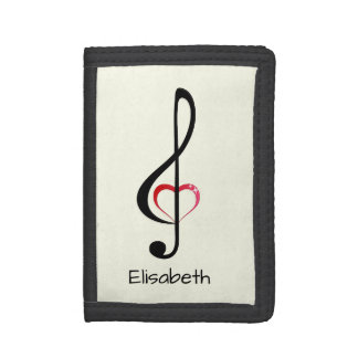 Treble clef with shiny pink heart name trifold wallet