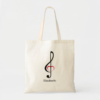 Treble clef with shiny pink heart tote bag