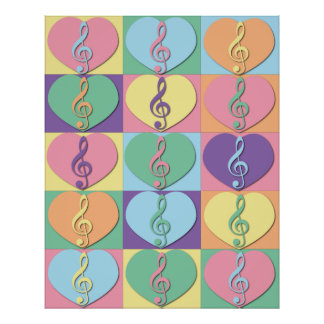 Treble Clefs and Hearts Poster