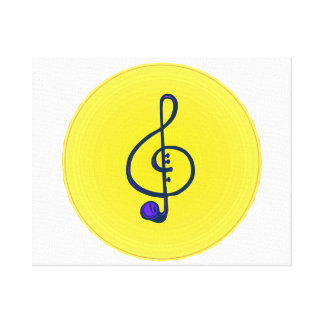 Treble horn clef blue with yellow circle canvas print