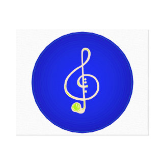 Treble horn clef pink Blue circle Canvas Print