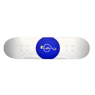 Treble horn clef pink Blue circle Skateboard