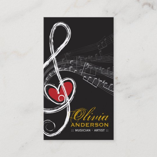 Treble Love Heart Music Musical Notes Symphony Business Card