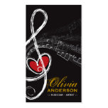 Treble Love Heart Music Musical Notes Symphony Business Card Templates