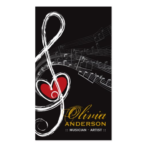 Treble Love Heart Music Musical Notes Symphony Double-Sided Standard Business Cards (Pack Of 100)