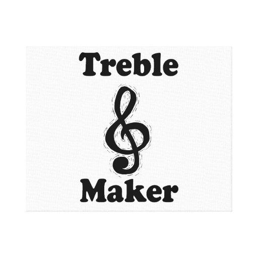 treble maker clef black funny music design stretched canvas prints