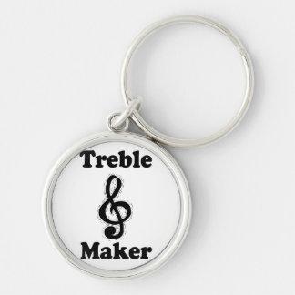 treble maker clef black funny music design keychain