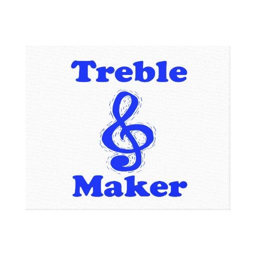 treble maker clef blue music design stretched canvas print