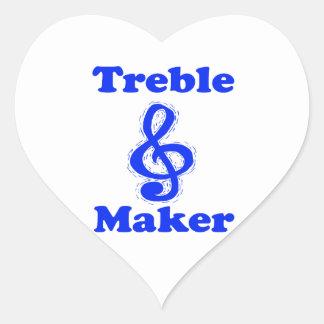 treble maker clef blue music design stickers