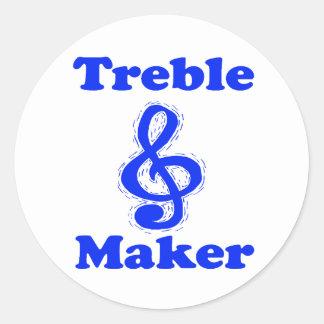 treble maker clef blue music design round sticker