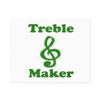 treble maker clef green funny music design canvas print