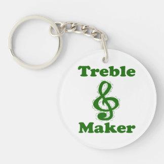 treble maker clef green funny music design keychain