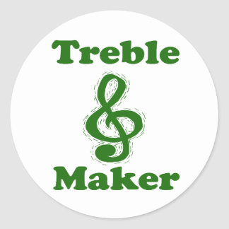 treble maker clef green funny music design round sticker