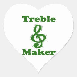 treble maker clef green funny music design heart stickers