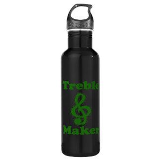 treble maker clef green funny music design water bottle