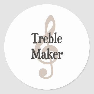 Treble Maker Clef Musical Trouble Maker Classic Round Sticker