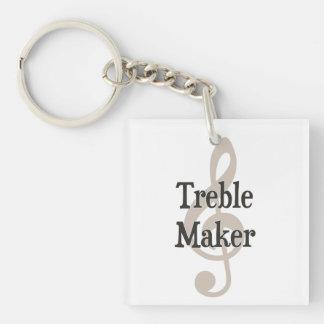 Treble Maker Clef Musical Trouble Maker Square Acrylic Key Chain