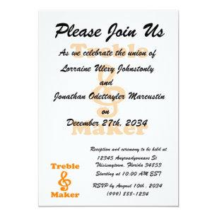 Funny band invitations announcements zazzle treble maker clef orange funny music design invitation stopboris Gallery