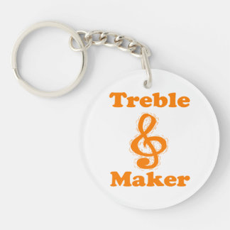 treble maker clef orange funny music design keychain