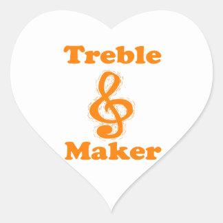 treble maker clef orange funny music design stickers