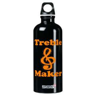 treble maker clef orange funny music design water bottle