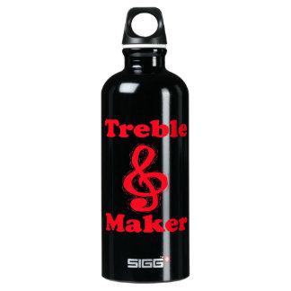treble maker clef red music design aluminum water bottle