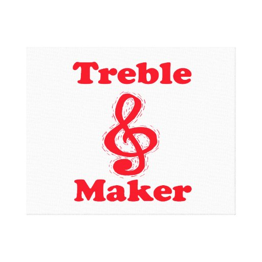treble maker clef red music design canvas print