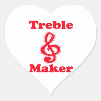 treble maker clef red music design heart sticker