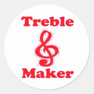 treble maker clef red music design round sticker