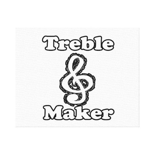 treble maker clef white blk outline music humour gallery wrap canvas
