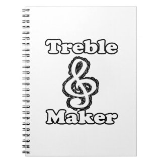 treble maker clef white blk outline music humour spiral note books