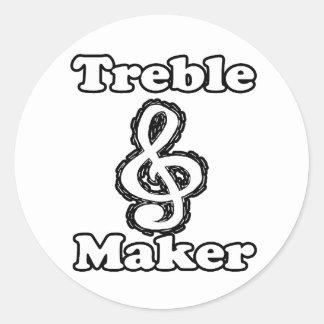 treble maker clef white blk outline music humour round sticker