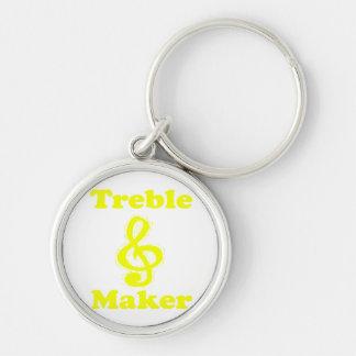 treble maker clef yellow funny music design keychain