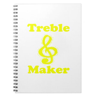 treble maker clef yellow funny music design notebook