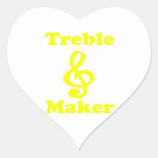 treble maker clef yellow funny music design stickers