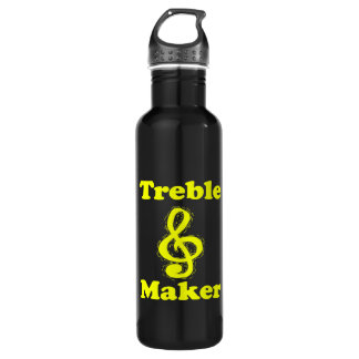 treble maker clef yellow funny music design water bottle