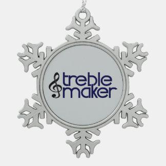 Treble Maker Snowflake Pewter Christmas Ornament