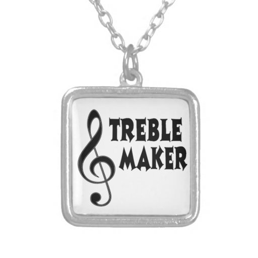 Treble Maker Square Pendant Necklace