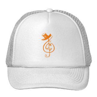 treble orange clef face top hat music design.png