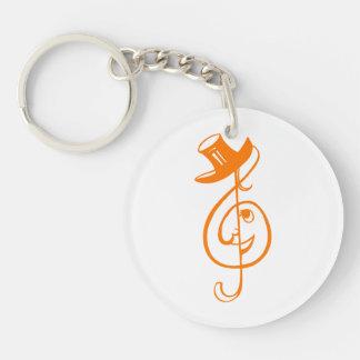 treble orange clef face top hat music design.png keychain
