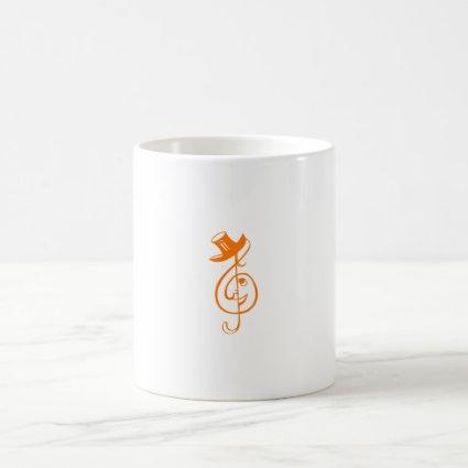 treble orange clef face top hat music design.png mug