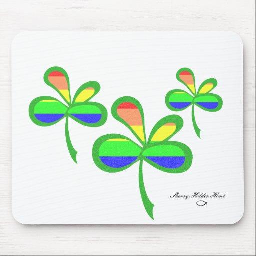 Trébol 2 del arco iris de cuatro hojas alfombrilla de ratón