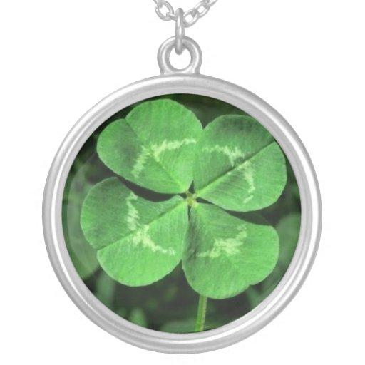 Trébol afortunado de 4 hojas collares personalizados