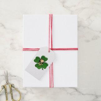 Trébol afortunado de cuatro hojas con la mina de etiquetas para regalos