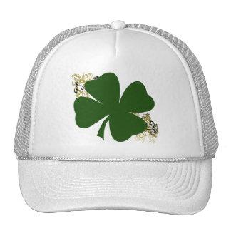 Trébol afortunado de cuatro hojas gorras