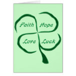 Trébol afortunado de cuatro hojas tarjeta