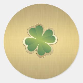 Trébol afortunado de oro elegante con clase pegatina redonda