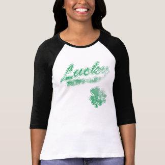 Trébol afortunado irlandés desteñido vintage lindo remera