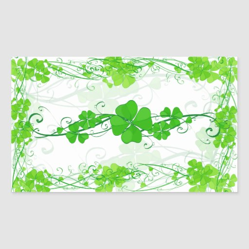Trébol afortunado verde rectangular pegatina