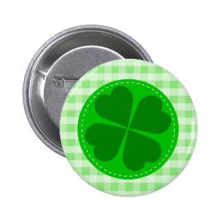 Trébol afortunado y a cuadros verde pin redondo de 2 pulgadas
